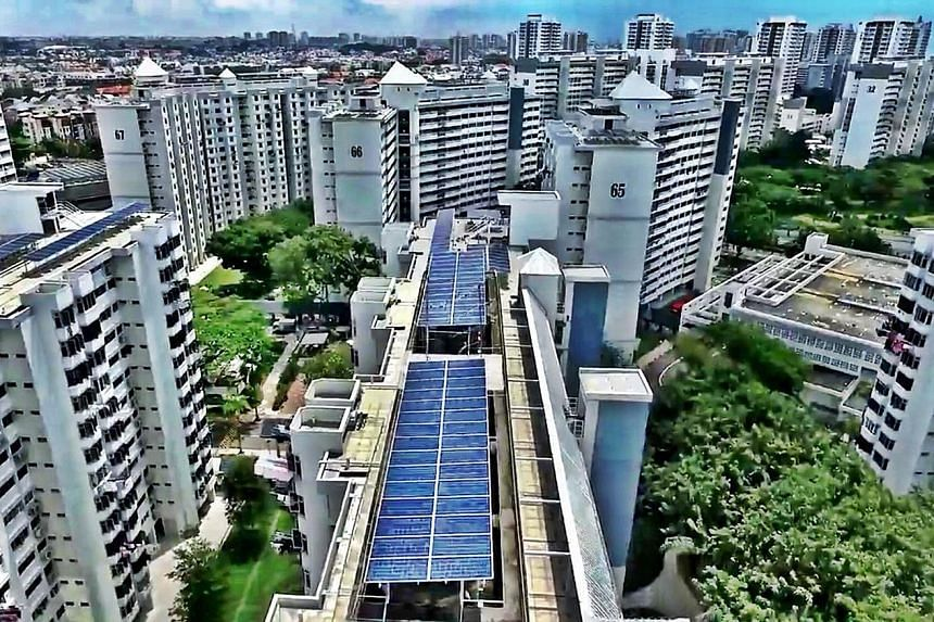 Solar panels installed by energy company Sunseap on HDB rooftops. Solar panel deployment has picked up in recent years and several local firms and multinationals plan to be part of Singapore's renewable energy value chain.