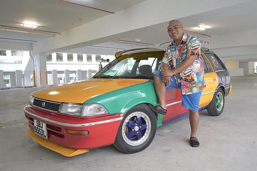 Mr Jasni Arsat drives his 1989 Toyota Corolla Wagon to collect bruised fruit and vegetables from vendors for restocking community fridges.