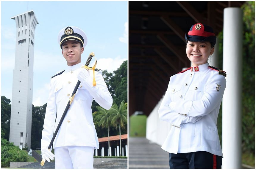 Both navy officer Akmal Rostam (left) and army intelligence officer Valerie Wee prefer the excitement of the military life to a 9-to-5 job.