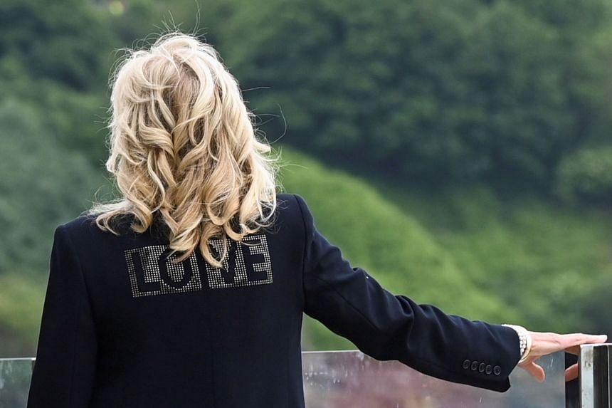 When asked about her jacket on the eve of the Group of Seven leaders' summit, Mrs Jill Biden said that unity across the globe is needed at this time.
