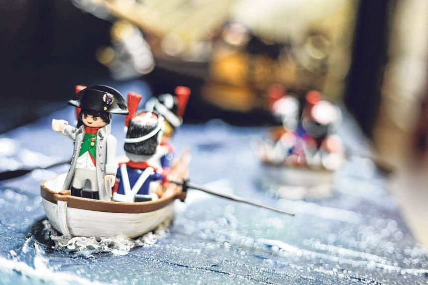 (Clockwise from above) A model of the 1815 Battle of Waterloo made with Playmobil on display at the Wellington Museum in Waterloo, Belgium. The exhibition titled The Empire In Playmobil traces the life of Napoleon and its major events and was created