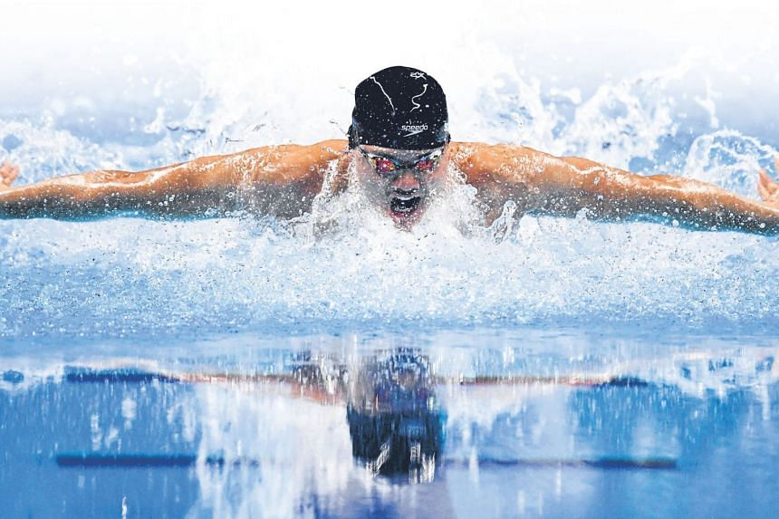 Joseph Schooling winning the 100m butterfly at the 2018 Asian Games in Jakarta in 51.04sec. In 2016 at the Rio de Janeiro Olympic Games, he won in 50.39sec. His best effort this year is 52.93sec.