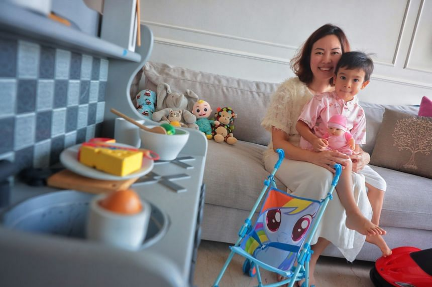 Jocelyn Teo bought toys like a play kitchen and a pram for her son James Pereire, during the circuit breaker.