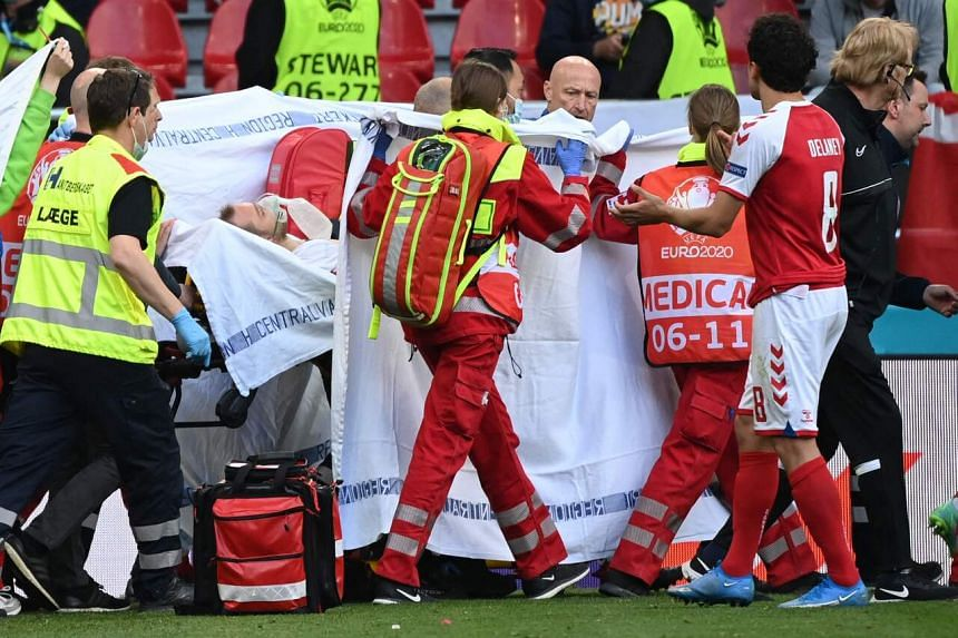 Christian Eriksen collapsed in the 42nd minute of the match while running near the left touchline.