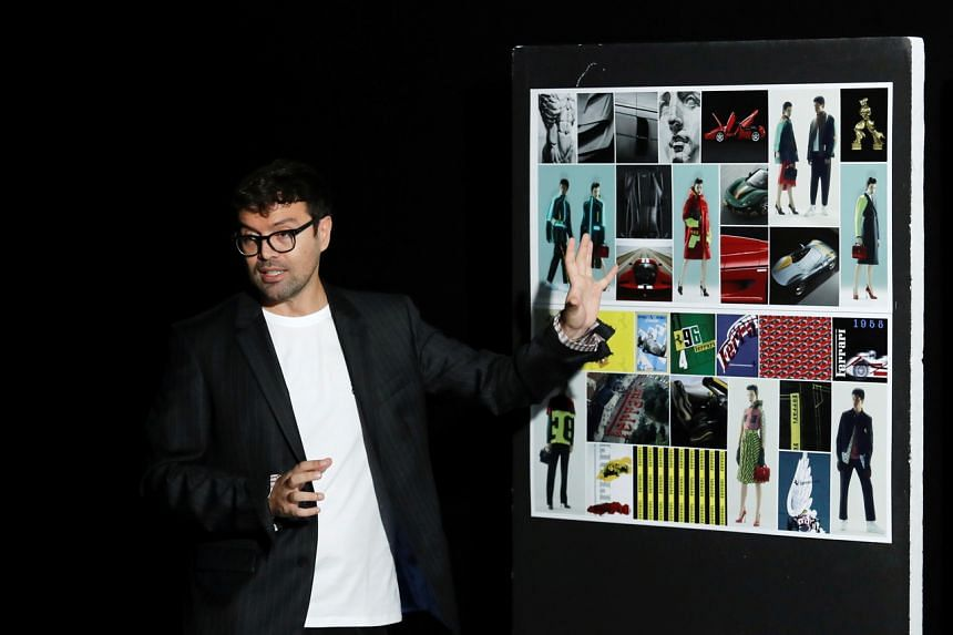 Ferrari Brand Diversification Creative Director, Rocco Iannone, speaks during a news conference in Maranello, Italy, on June 13, 2021.
