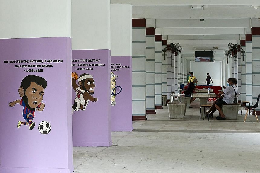Murals at Block 626 Ang Mo Kio Avenue 4 that are meant to help those with dementia find their way around.