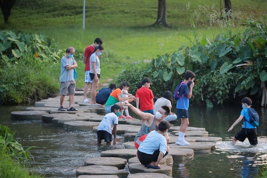 People at Bishan-Ang Mo Kio Park on June 14, 2021. Groups of up to five people can gather socially again.