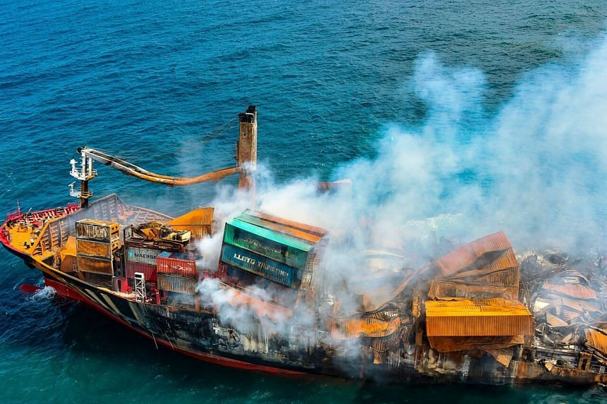 The container ship caught fire on the outskirts of the Colombo Port on May 20, 2021.