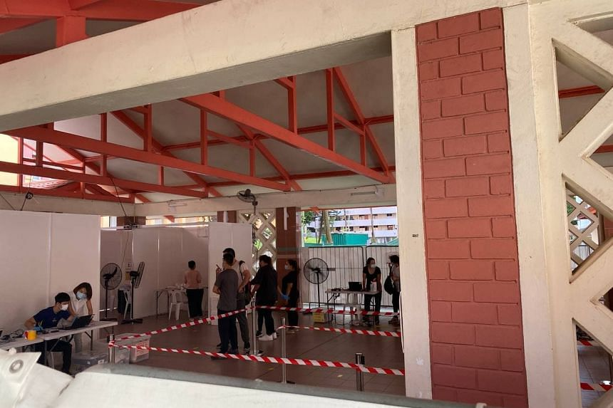 Mandatory Covid-19 testing started at a temporary site at Block 125A Bukit Merah View on June 14, 2021.