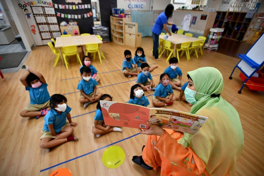 A class at MOE Kindergarten@Horizon in January. All 36 kindergartens under the Ministry of Education offer all three mother tongues.