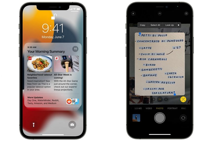 The Notification Summary feature in Apple's iOS 15 (left) and the new Live Text feature that allows the user to transcribe and copy text from images to paste into another app.