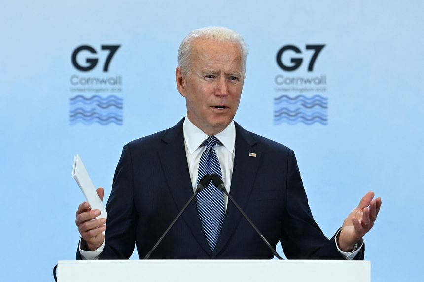 US President Joe Biden takes part in a press conference at the G-7 summit near Newquay, Cornwall on June 13, 2021.