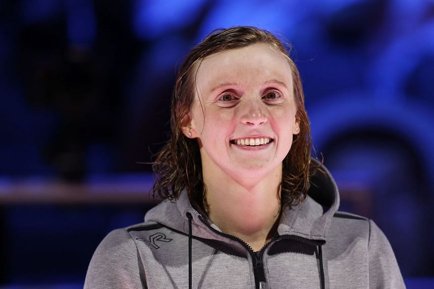 Katie Ledecky said she was just happy to be on her way to Tokyo at last after the one-year pandemic delay.