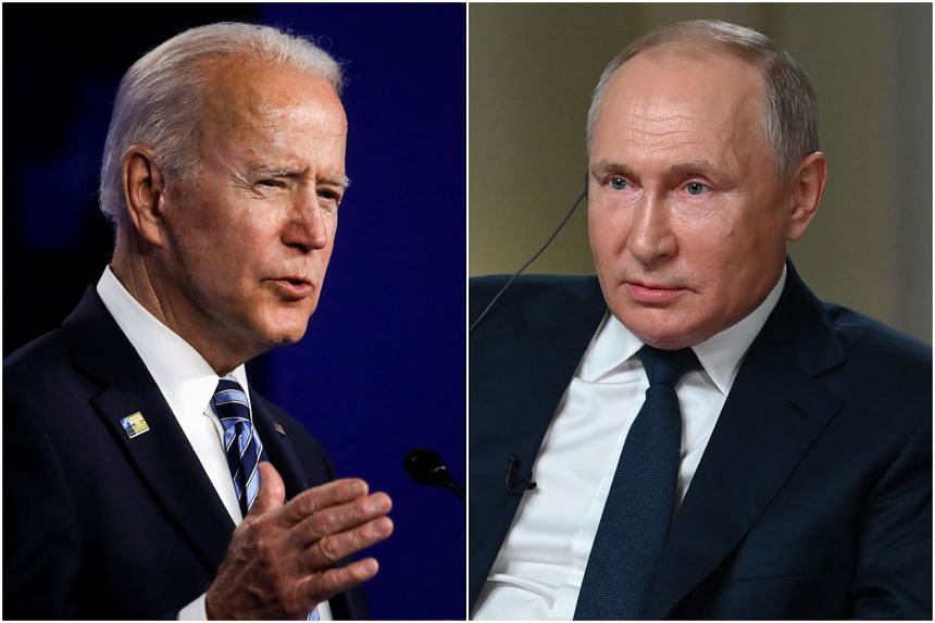 US President Joe Biden (left) is due to meet Russian President Vladimir Putin on June 16, 2021.