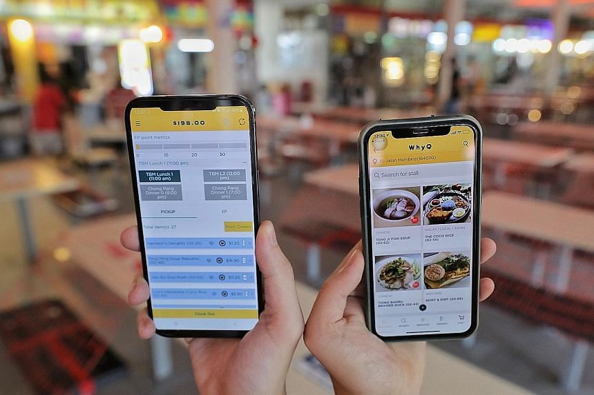 WhyQ co-founder Rishabh Singhvi said it now has 3,500 stall owners from 70 hawker centres on its platform - double that of pre-pandemic times. WhyQ, one of the delivery platforms participating in the workgroup to be convened by the Government, has em