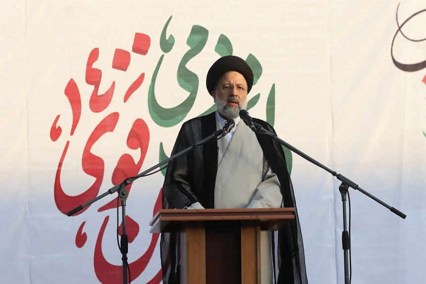 Iranian presidential candidate Ebrahim Raisi speaks during a campaign rally in Teheran, on June 15, 2021.
