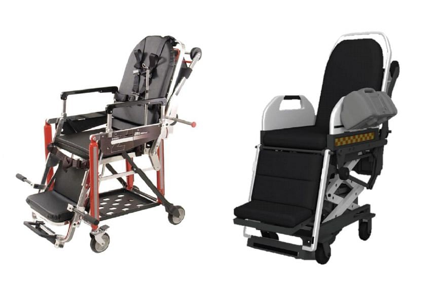 The manual stretcher currently being used by the SCDF (left) and the new motorised stretcher developed by the HTX (right).