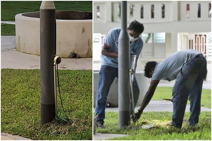 The lamp post that caused the shock had a black wire dangling from it, said the father of one of the two boys. Workers were later seen repairing the lamp post on June 13, 2021.
