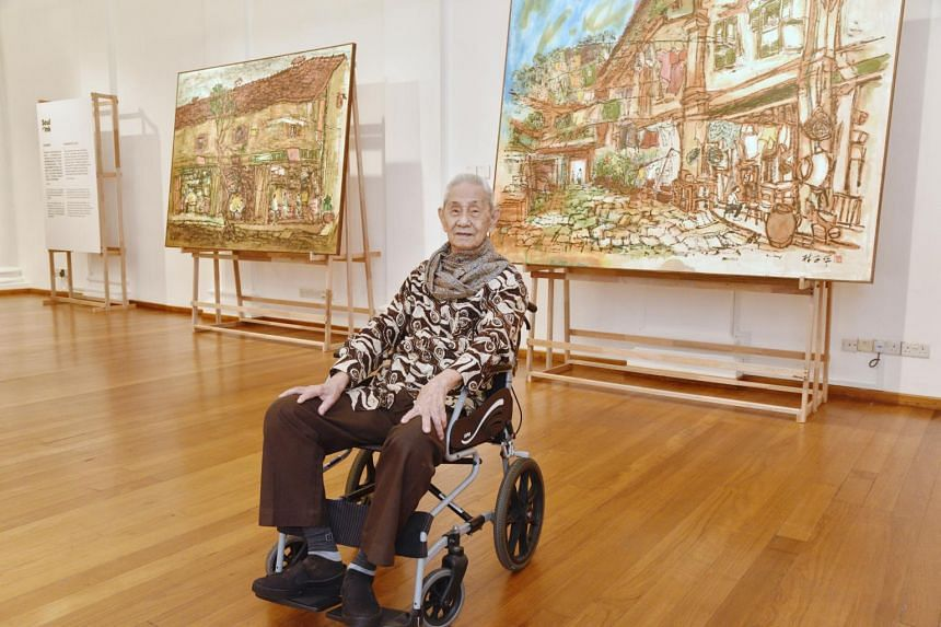 Calligraphy, old street scenes and paintings of sinuous trees continue to emerge from Lim Tze Peng's studio.