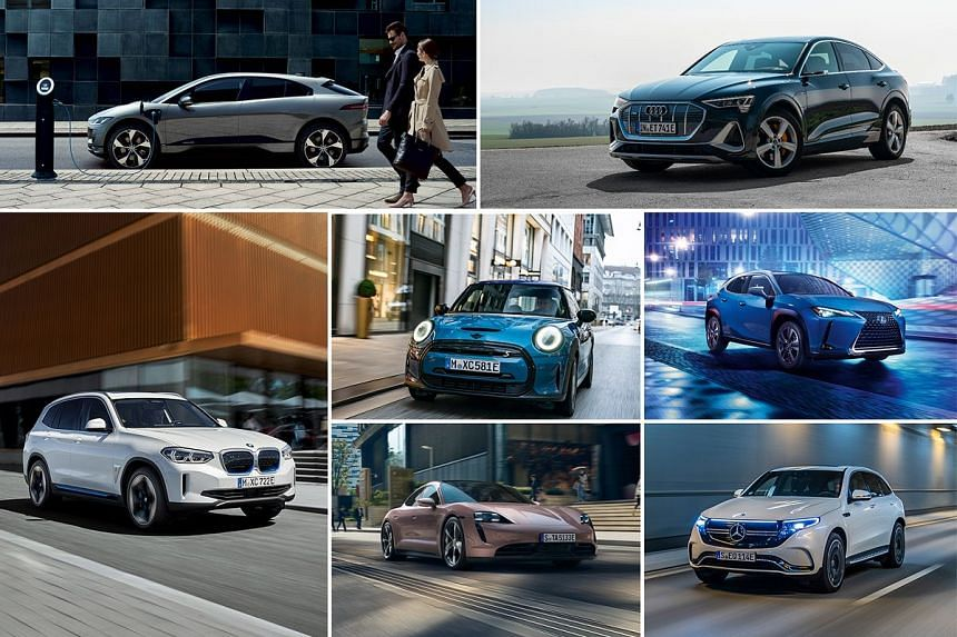 Make a bold statement with luxury electric cars, such as (clockwise from top left) Jaguar I-Pace, Audi e-tron Sportback, Lexus UX 300e, Mercedes-Benz EQC, Porsche Taycan, BMW iX3 and Mini Electric.