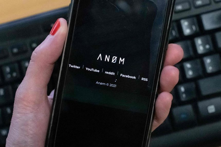 The Anom app appears on the screen of a smartphone on June 8, 2021.