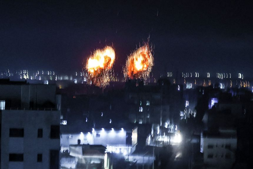Israeli air force launching air strikes on Gaza City on June 16, 2021.