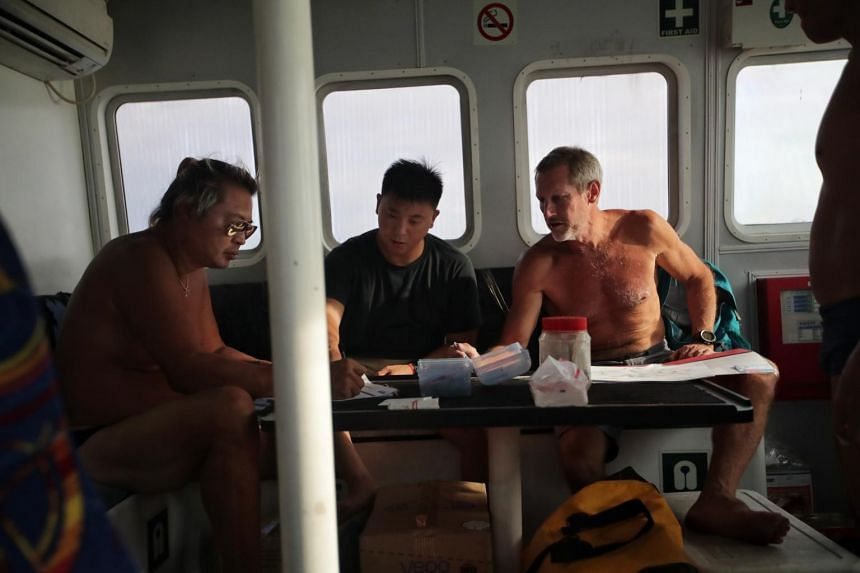 Dr Michael Flecker (right) discusses plans with his crewmates on May 22.