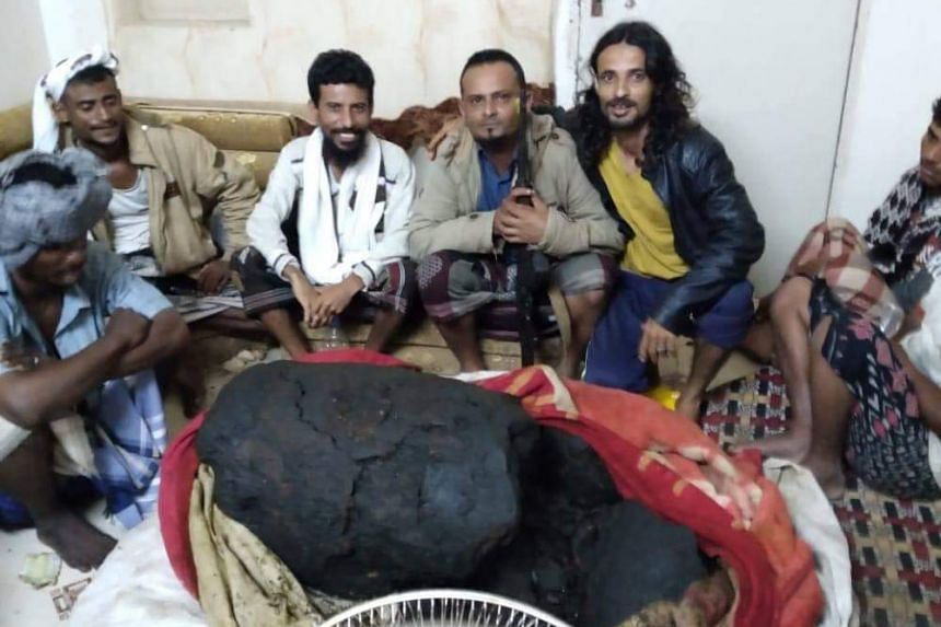 The fishermen (above) sold their 127kg lump of ambergris to an Emirati businessman for more than US$1.5 million (S$2 million).