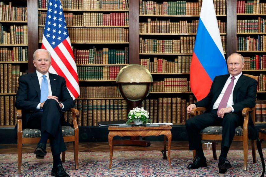 US President Joe Biden (left) and Russian President Vladimir Putin meet during a summit at Villa La Grange, Geneva, on June 16, 2021.