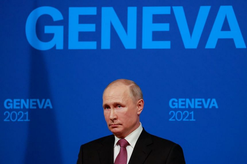 Russian President Vladimir Putin holds a news conference after a US-Russia summit with US President Joe Biden in Geneva, Switzerland.