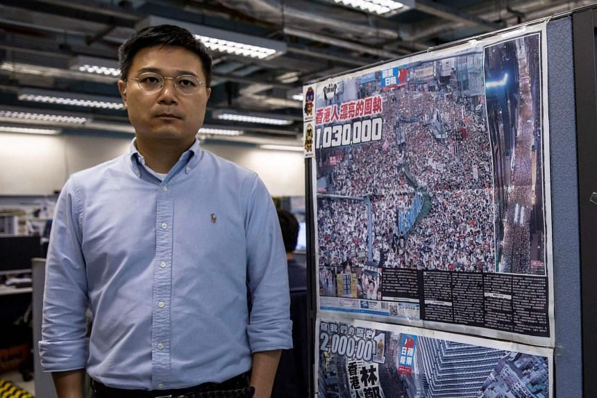 Apple Daily editor-in-chief Ryan Law in the outlet's newsroom in Hong Kong, on May 13, 2021.