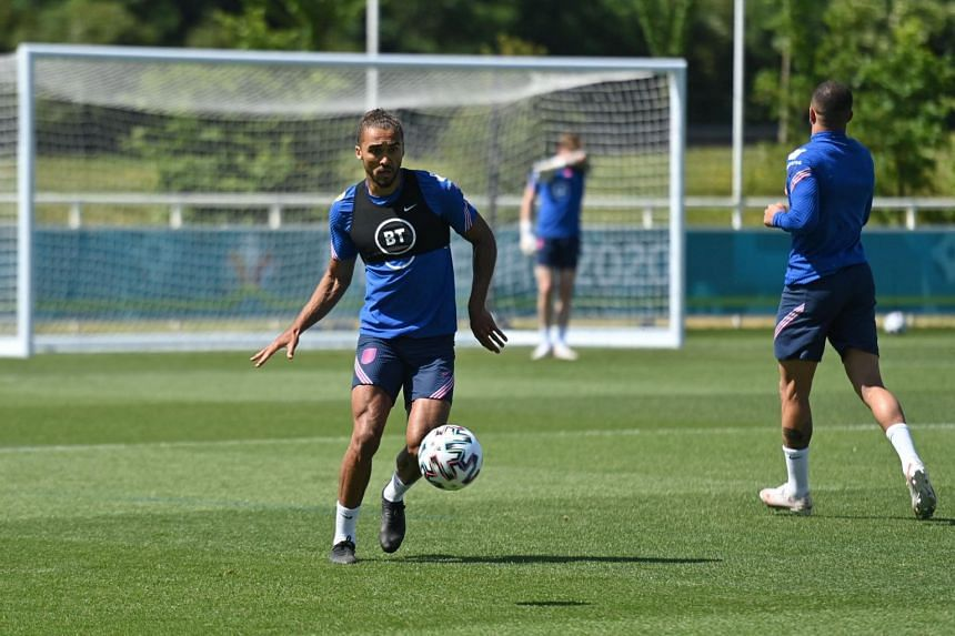 Dominic Calvert-Lewin takes part in a training sesssion at St George's Park, in England, on June 15, 2021.