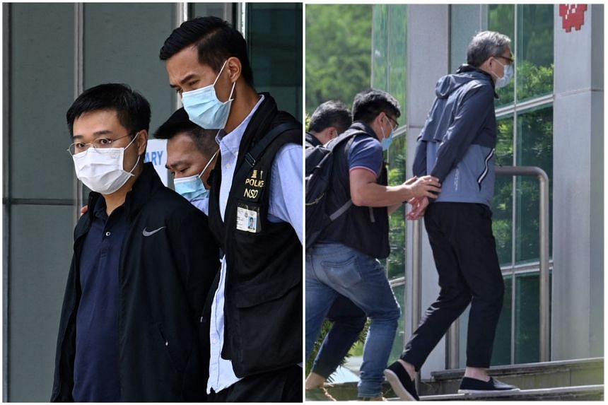 Apple Daily said five of its directors, including editor-in-chief Ryan Law (left) and chief executive Cheung Kim-hung, were arrested in morning raids.