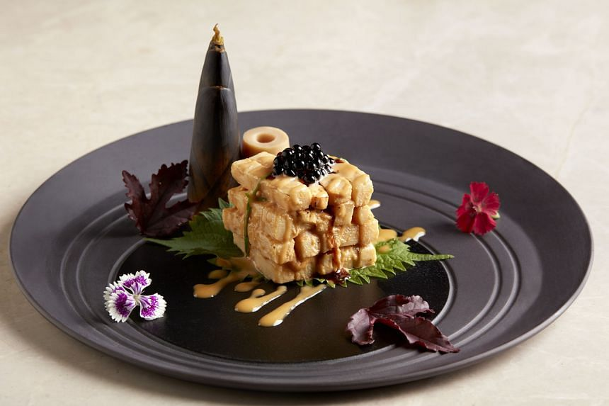Roasted Bamboo Shoots with Vinegar Pearls and Flaxseed Dressing, by chef Jereme Leung.