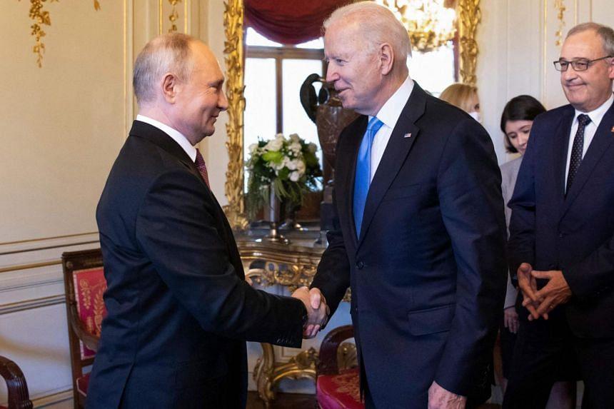 Russian President Vladimir Putin (left) and US President Joe Biden met at a historic summit in Geneva, on June 16, 2021.