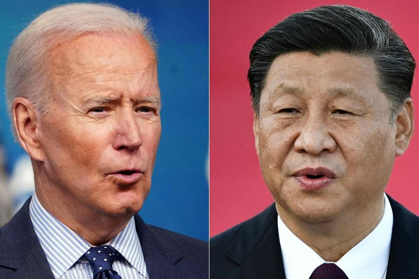 National security adviser Jake Sullivan said Biden (left) would welcome a chance to speak further to China's Xi.Jinping (right).