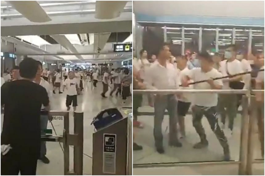 The attack by more than 100 people was some of the most violent scenes of the 2019 unrest in Hong Kong.
