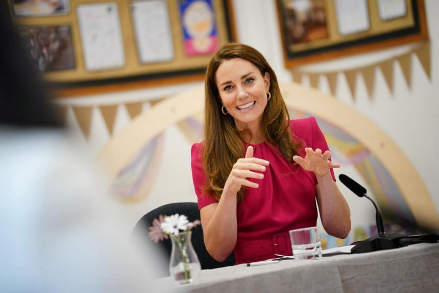 Britain's Duchess of Cambridge Kate participates in a round table on early education during a visit to a school in Cornwall on June 11, 2021.