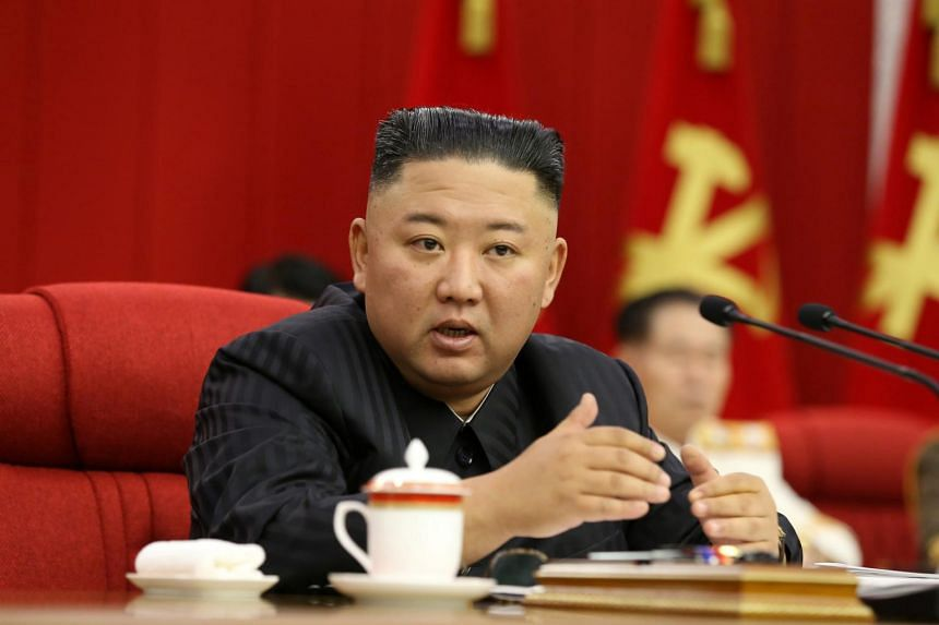 North Korean leader Kim Jong Un speaks at a plenary meeting of the central committee of the Workers' Party of Korea in Pyongyang, in an image released on June 17, 2021.