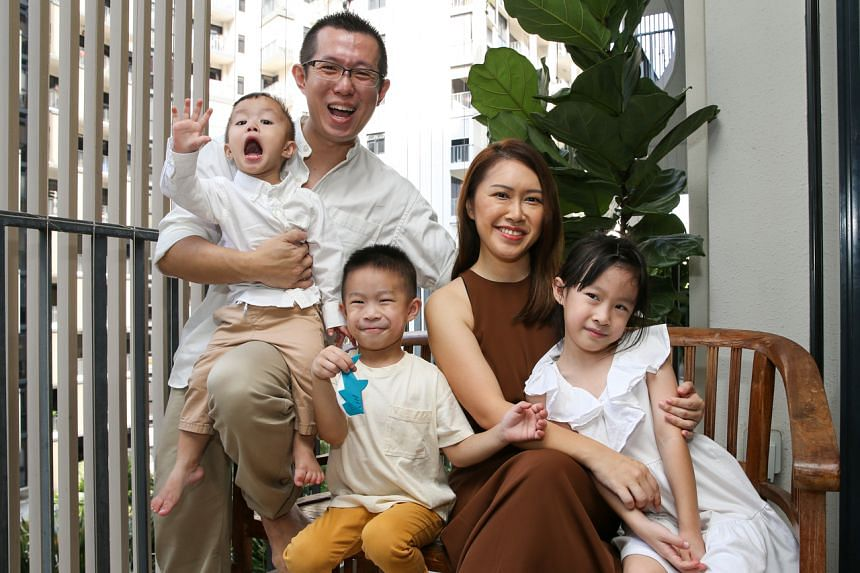 Mr Keith Tan with his wife and their children. Mr Tan had dreams of being a great teacher and father, but found himself barely spending time with his children.