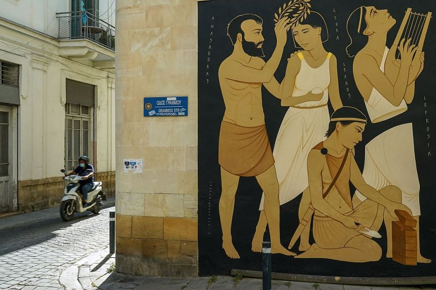 The works of Greek artist Fikos – which blend Greek mythology and Byzantine iconography with graffiti and street art – adorn the walls of the Cyprus capital of Nicosia. The 33-year-old spends time wandering the narrow back alleys of the Old City