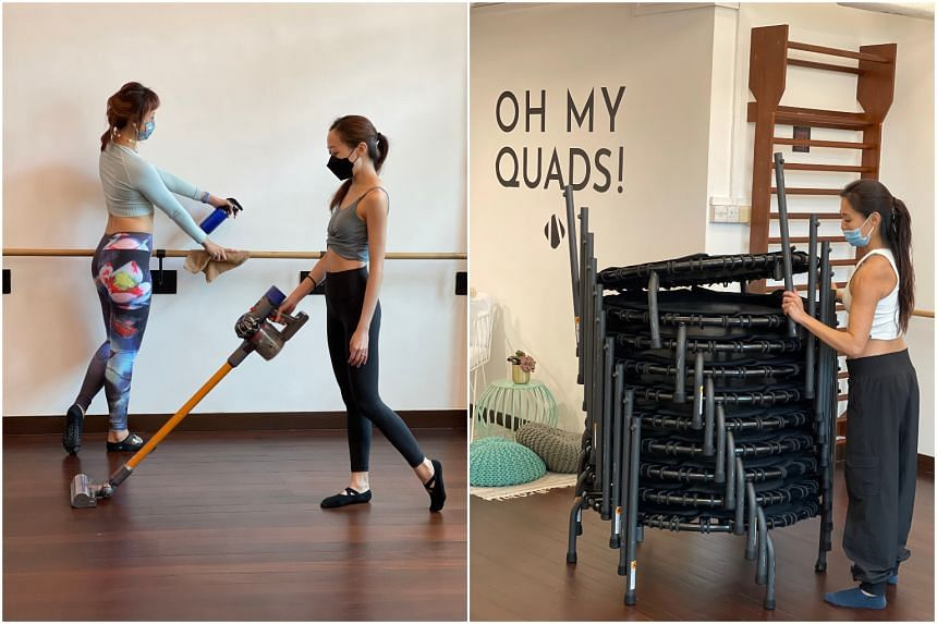 Employees at Barre 2 Barre clean the studio in preparations for the reopening (left), and stacking trampolines at their bounce studio.