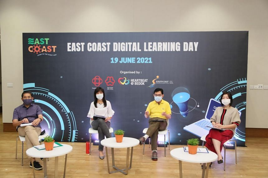 (From left) East Coast GRC MPs Maliki Osman, Jessica Tan, Heng Swee Keat and Cheryl Chan at the launch of the East Coast Digital Blueprint.