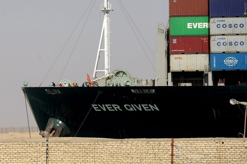 The Ever Given container ship has been anchored in a lake between two stretches of the canal since it was dislodged on March 29.