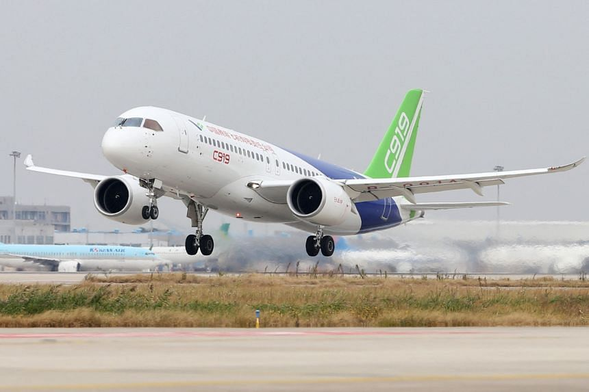 The Comac C919, China's first large passenger jet.