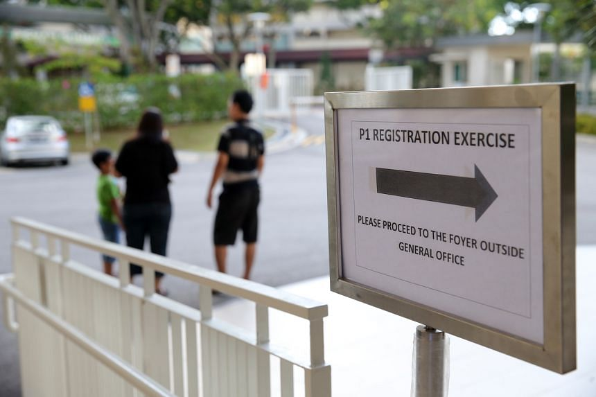 A Primary 1 registration exercise at Guangyang Primary School in 2015. Singapore's Primary 1 registration exercise takes place in six phases.