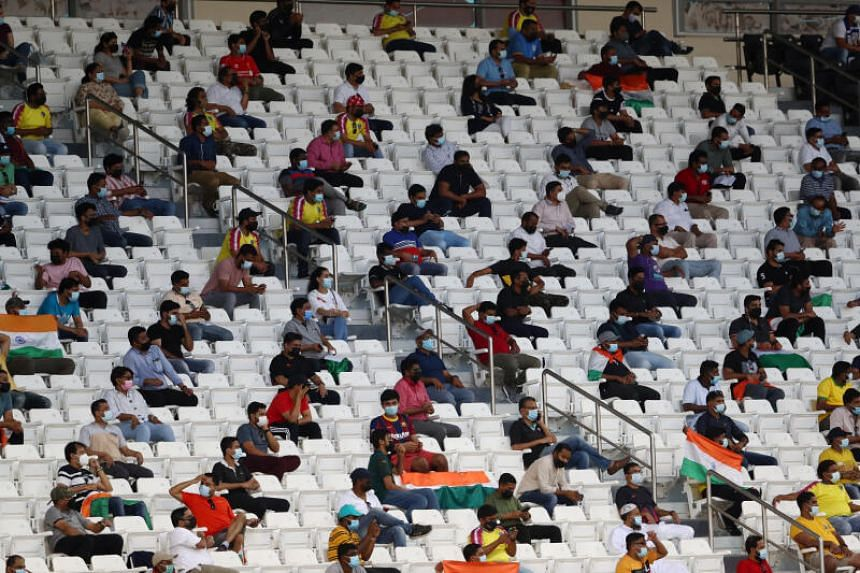 Fans are seen in the stand during a match at the Jassim Bin Hamad Stadium, Doha, on June 15, 2021.