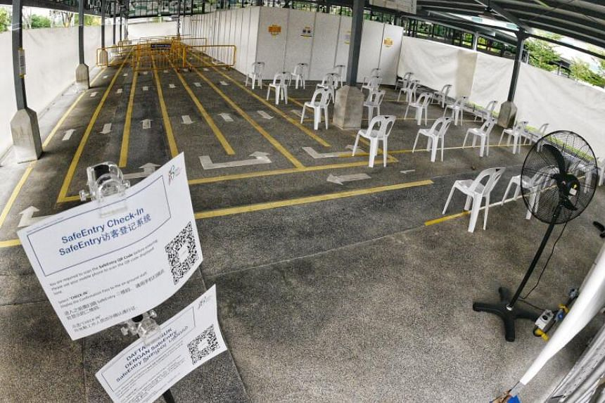 Two former outdoor bus terminals in Tekka (pictured) and Yishun have been converted to quick test centres.