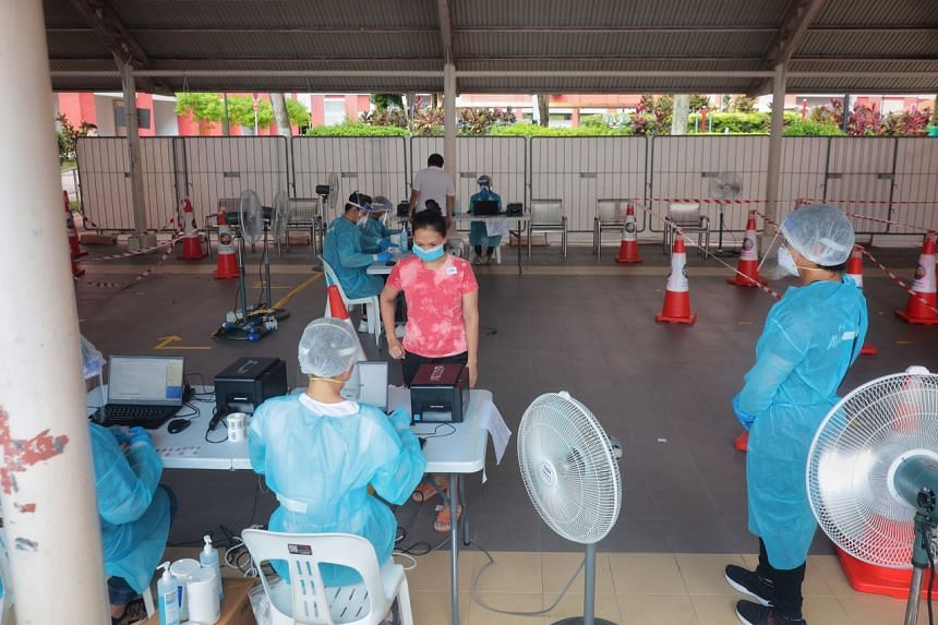 Residents at the swab test area at 84A Redhill Lane on June 21, 2021.