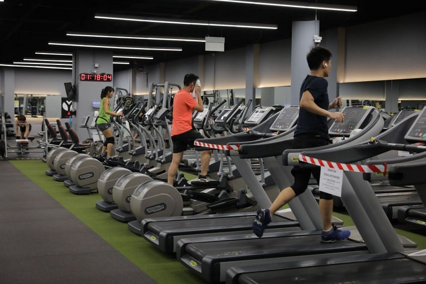 People exercising at TFX Millenia Walk,  on June 21, 2021.